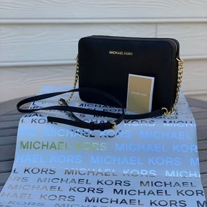 Black Vinyl Michael Kors Crossbody Handbag